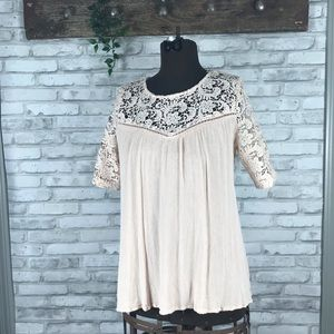 Mittoshop Blush Embroidered back detail Top size M